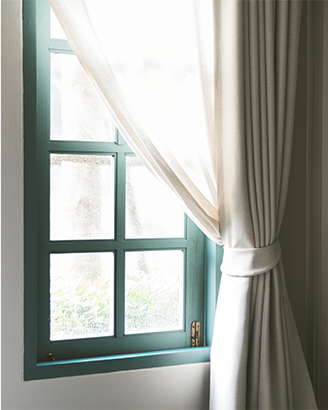 Vinyl Window with Curtain